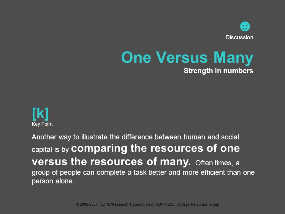 ☻ Discussion One Versus Many Strength in numbers [k] Key Point Another way to illustrate the difference between human and social capital is by comparing the resources of one versus the resources of many.