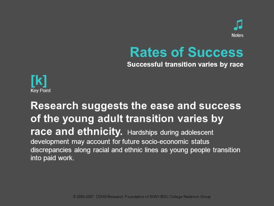 ♫ Notes Rates of Success Successful transition varies by race [k] Key Point Research suggests the ease and success of the young adult transition varies by race and ethnicity.