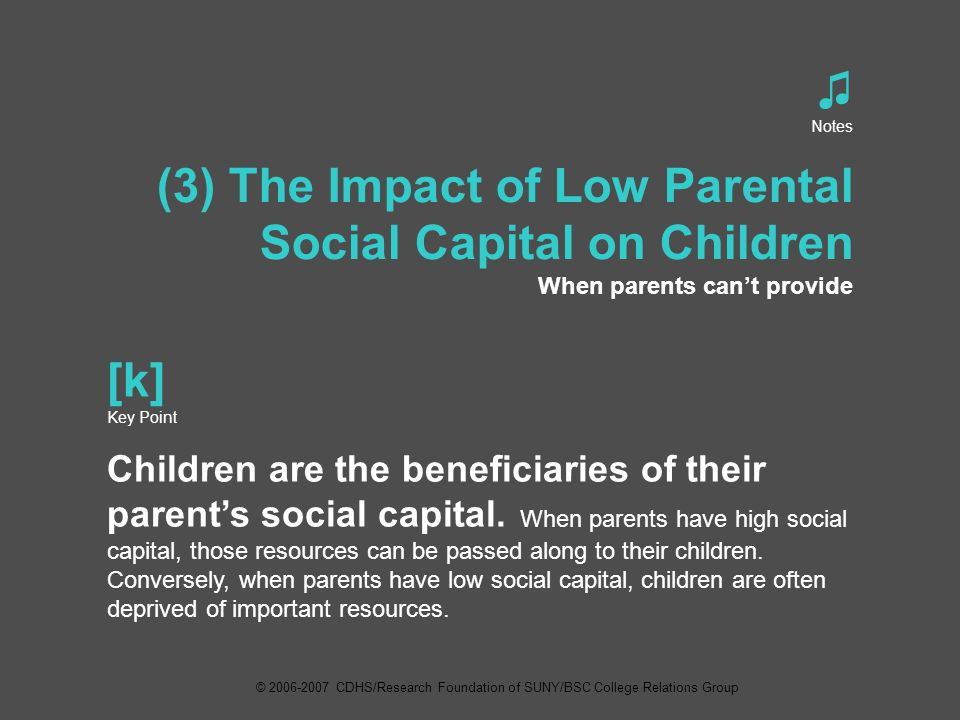 ♫ Notes (3) The Impact of Low Parental Social Capital on Children When parents can't provide [k] Key Point Children are the beneficiaries of their parent's social capital.