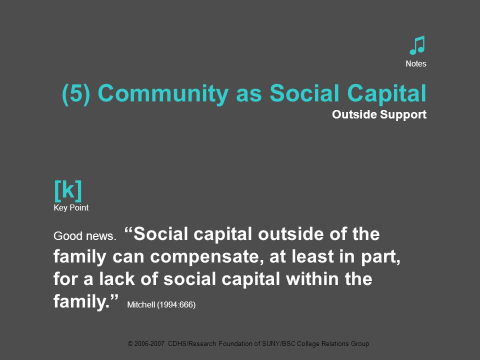 ♫ Notes (5) Community as Social Capital Outside Support [k] Key Point Good news.