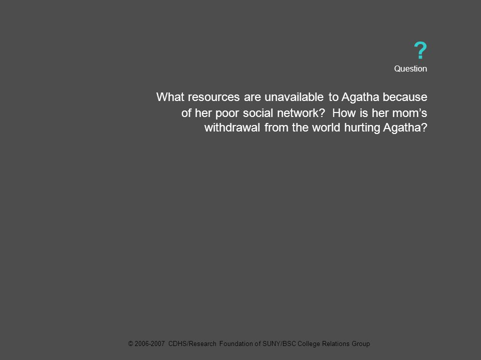 Question What resources are unavailable to Agatha because of her poor social network.