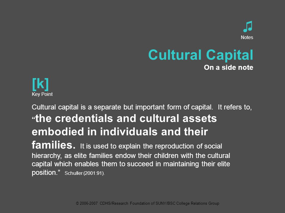 ♫ Notes Cultural Capital On a side note [k] Key Point Cultural capital is a separate but important form of capital.