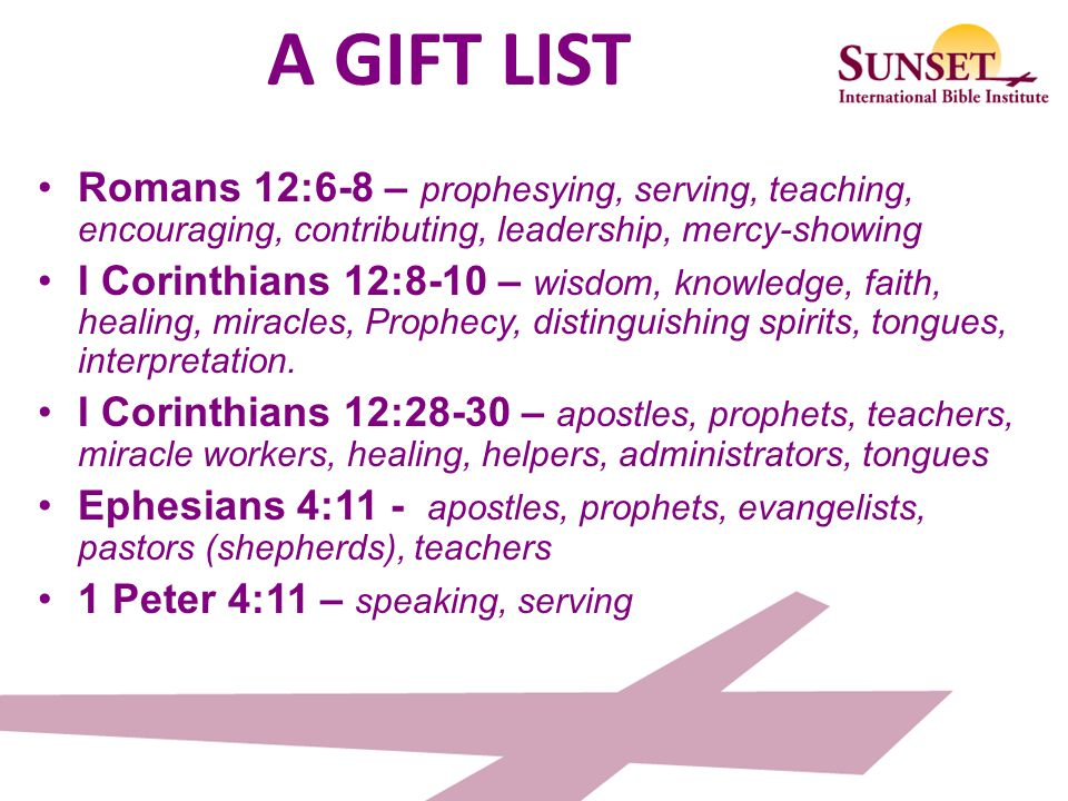 GIFTS ARE FOR SERVING Each one should use whatever gift he has received to serve others, faithfully administering God's grace in its various forms. I Peter 4:10