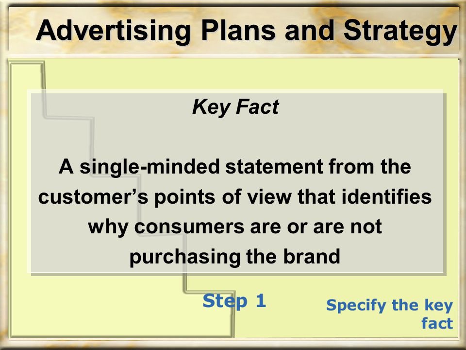 Key Fact A single-minded statement from the customer's points of view that identifies why consumers are or are not purchasing the brand