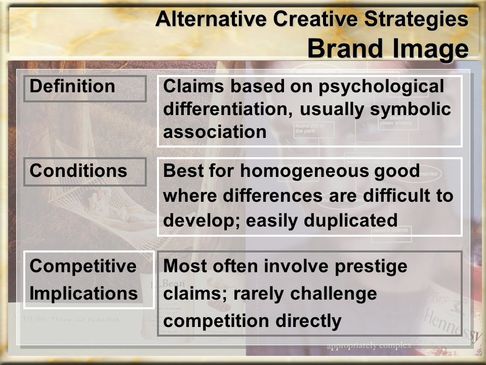 Alternative Creative Strategies Brand Image Claims based on psychological differentiation, usually symbolic association Definition Best for homogeneou