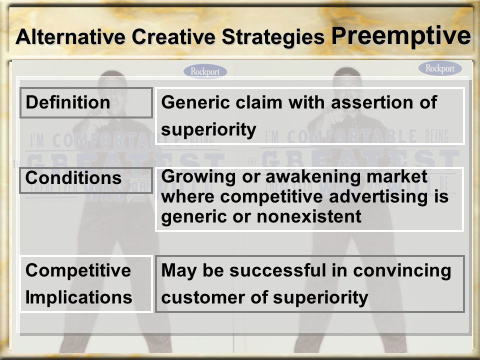 Alternative Creative Strategies P reemptive Generic claim with assertion of superiority Definition Growing or awakening market where competitive adver