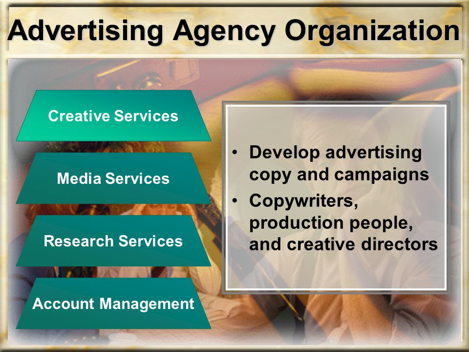 Advertising Agency Organization Develop advertising copy and campaigns Copywriters, production people, and creative directors Creative Services Accoun
