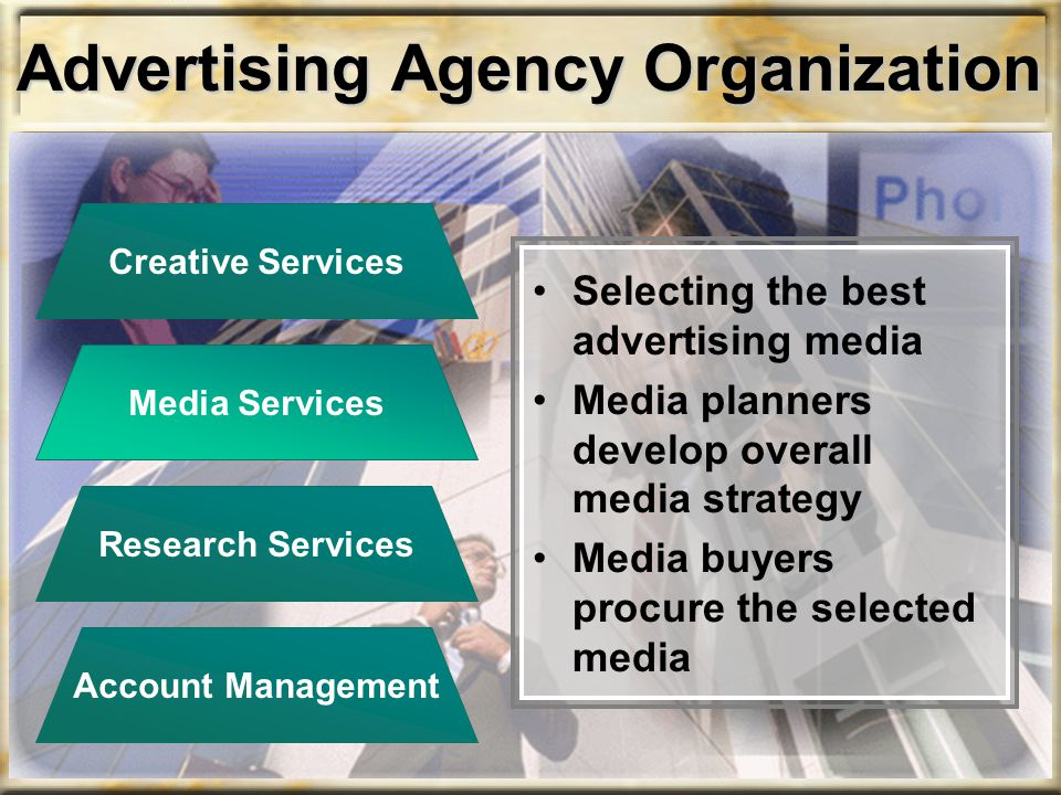 Advertising Agency Organization Selecting the best advertising media Media planners develop overall media strategy Media buyers procure the selected m