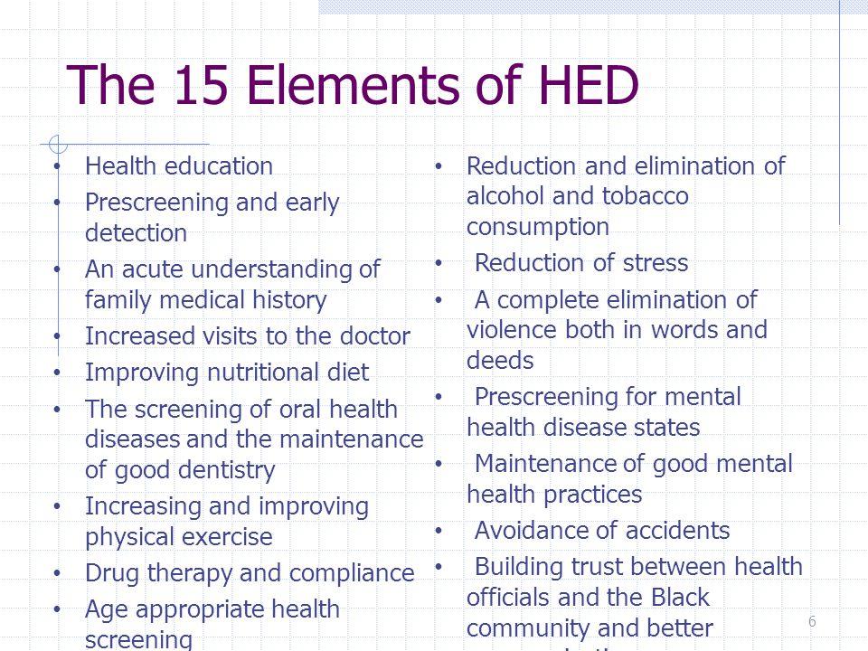 Ten Characteristics of HED 1.35 focused health communities 2.