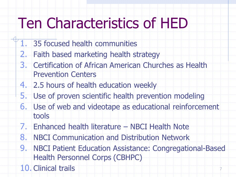 Strategic Planning HED health panel's primary objective is to create a five year strategic plan for that geographic area.