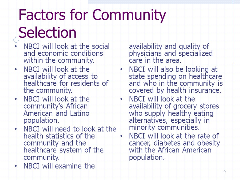 Scientific Health Models These are the methodologies that NBCI will employ to radically change African American's behavior when it comes down to good health practices within their lives.