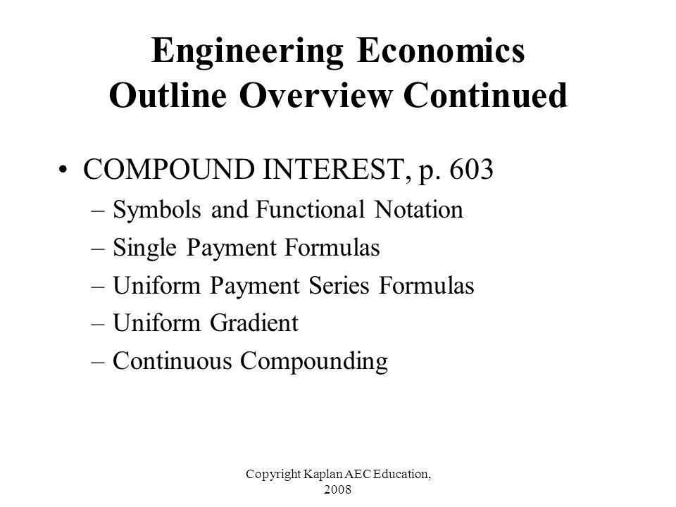 Copyright Kaplan AEC Education, 2008 COMPOUND INTEREST, p. 603 –Symbols and Functional Notation –Single Payment Formulas –Uniform Payment Series Formu