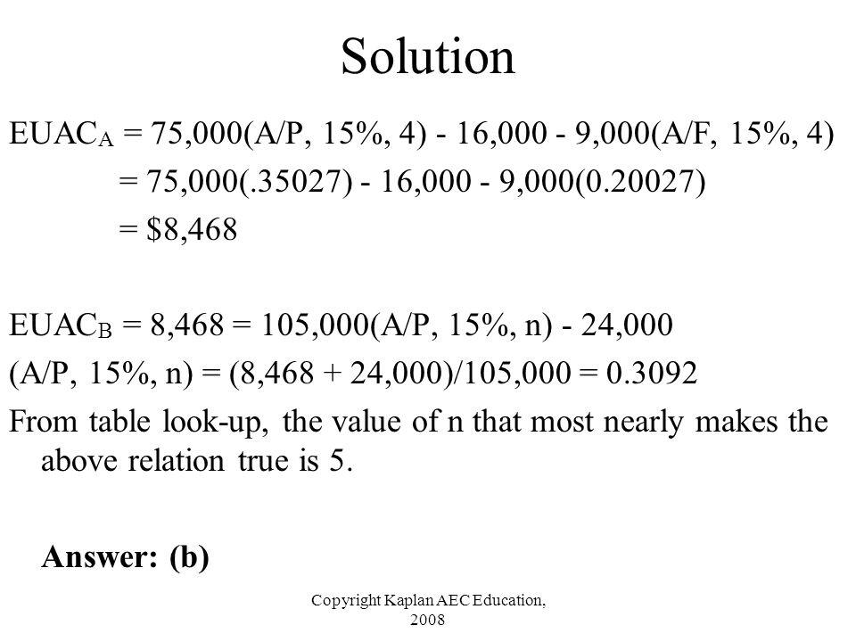 Copyright Kaplan AEC Education, 2008 Solution EUAC A = 75,000(A/P, 15%, 4) - 16,000 - 9,000(A/F, 15%, 4) = 75,000(.35027) - 16,000 - 9,000(0.20027) =