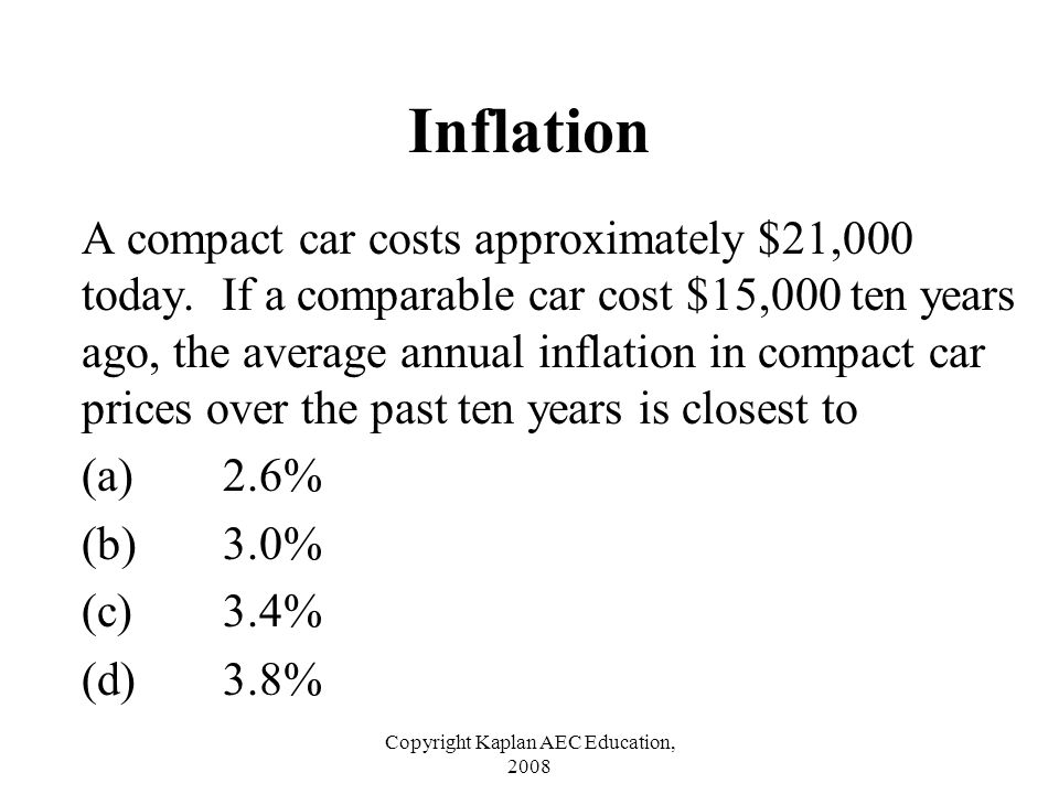 Copyright Kaplan AEC Education, 2008 Inflation A compact car costs approximately $21,000 today. If a comparable car cost $15,000 ten years ago, the av