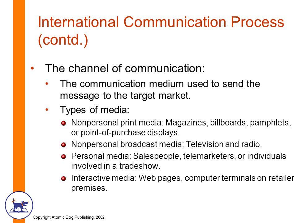 Copyright Atomic Dog Publishing, 2002Copyright Atomic Dog Publishing, 2008 International Communication Process (contd.) The channel of communication: