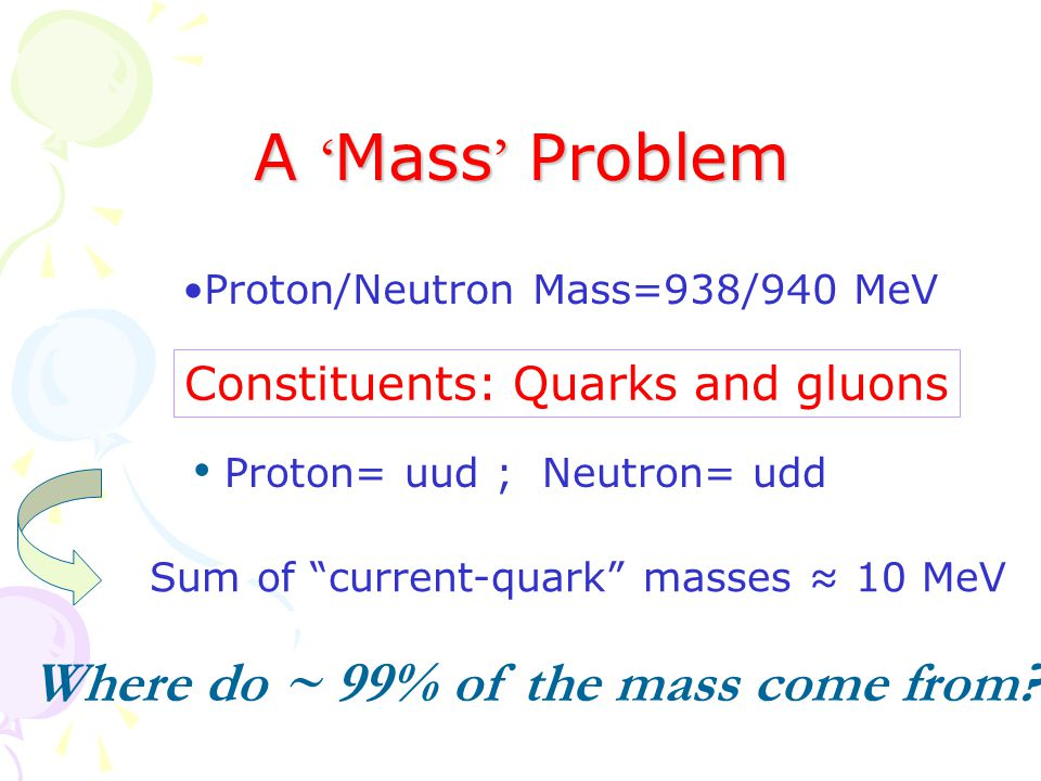 A ' Mass ' Problem Proton/Neutron Mass=938/940 MeV Constituents: Quarks and gluons Proton= uud ; Neutron= udd Sum of current-quark masses ≈ 10 MeV Where do ~ 99% of the mass come from