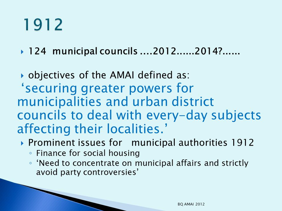  As local representatives, councillors need to be ready to take hard decisions, adopt an objective rather than clientilist attitude to implementation and evaluation of policies  You have the mandate to lead the way in achieving and effective, efficient and equitable system – ◦ engage in debate and deliberation ◦ Gather the evidence ◦ Lead the change - local government has led the way in the efficiency drive (840 million) - let it also be pro-active in achieving a system appropriate to 21 st century needs.
