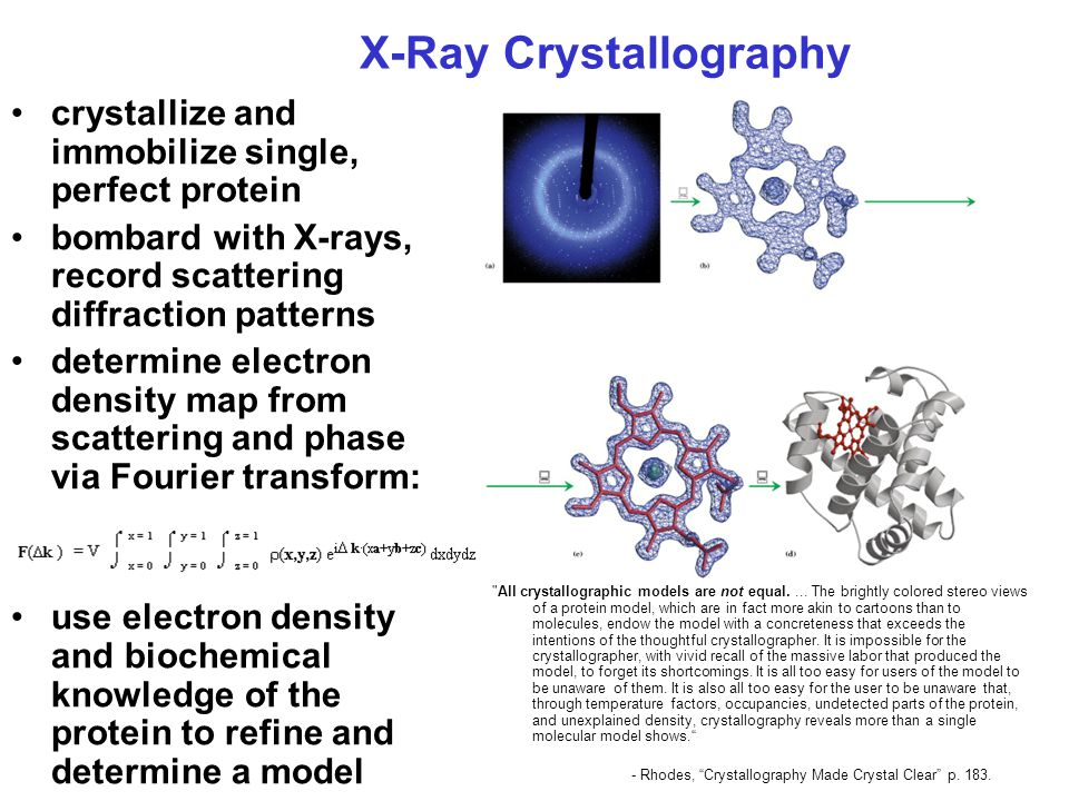 X-Ray Crystallography crystallize and immobilize single, perfect protein bombard with X-rays, record scattering diffraction patterns determine electron density map from scattering and phase via Fourier transform: use electron density and biochemical knowledge of the protein to refine and determine a model All crystallographic models are not equal....