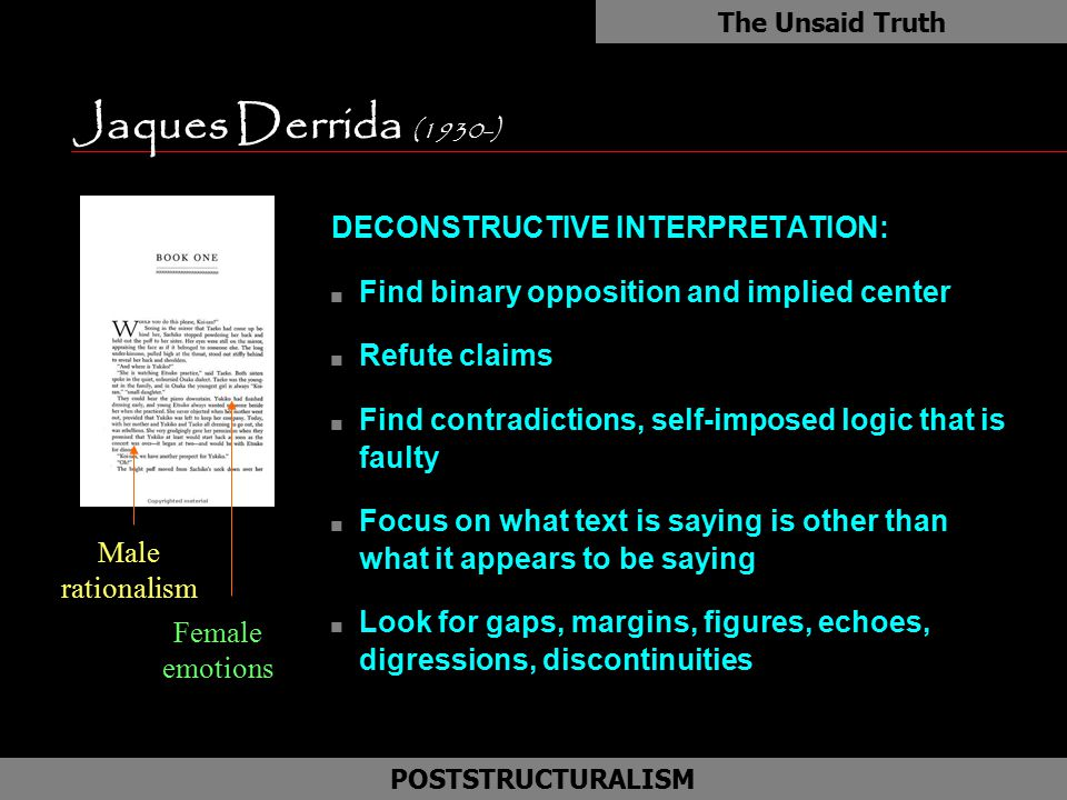 Jaques Derrida (1930-) DECONSTRUCTIVE INTERPRETATION: n Find binary opposition and implied center n Refute claims n Find contradictions, self-imposed
