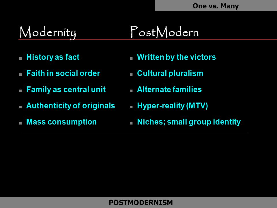 ModernityPostModern n History as fact n Faith in social order n Family as central unit n Authenticity of originals n Mass consumption One vs. Many POS
