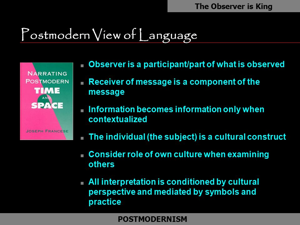 Postmodern View of Language n Observer is a participant/part of what is observed n Receiver of message is a component of the message n Information bec