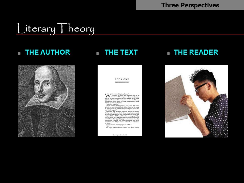 Literary Theory n THE AUTHOR Three Perspectives n THE TEXT n THE READER