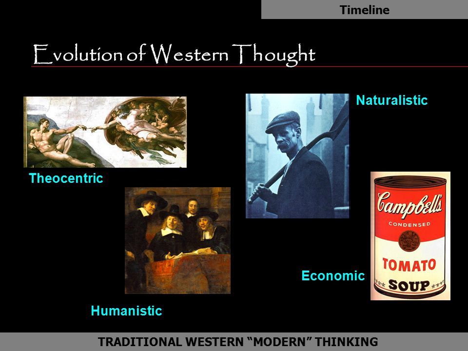 "Evolution of Western Thought Timeline as TRADITIONAL WESTERN ""MODERN"" THINKING Theocentric Humanistic Economic Naturalistic"