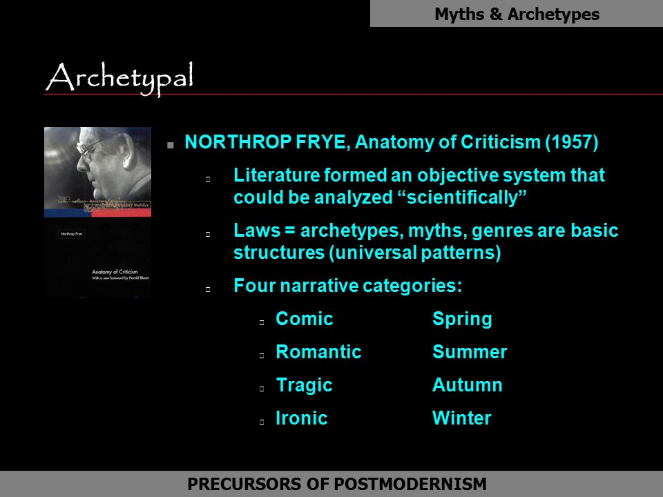 "Archetypal n NORTHROP FRYE, Anatomy of Criticism (1957) Literature formed an objective system that could be analyzed ""scientifically"" Laws = archetype"