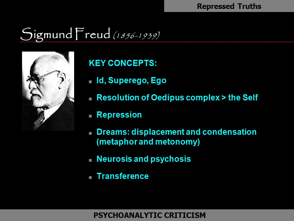 KEY CONCEPTS: n Id, Superego, Ego n Resolution of Oedipus complex > the Self n Repression n Dreams: displacement and condensation (metaphor and metono