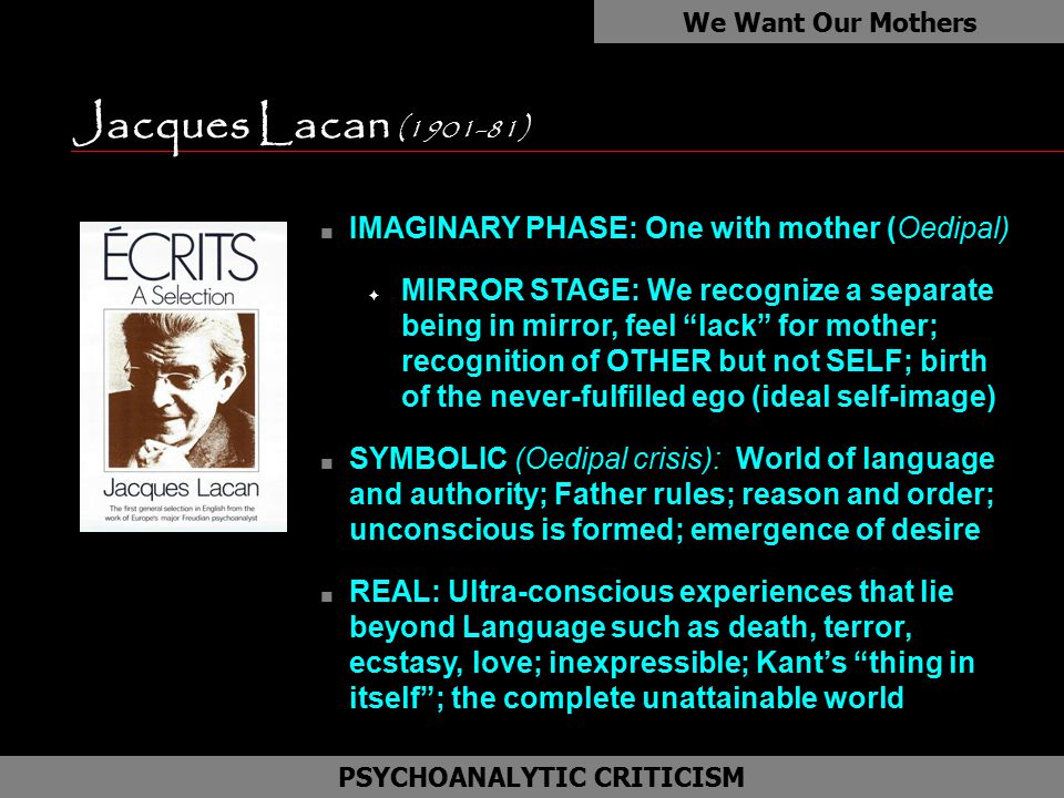 Jacques Lacan (1901-81) We Want Our Mothers as PSYCHOANALYTIC CRITICISM n IMAGINARY PHASE: One with mother (Oedipal) F MIRROR STAGE: We recognize a separate being in mirror, feel lack for mother; recognition of OTHER but not SELF; birth of the never-fulfilled ego (ideal self-image) n SYMBOLIC (Oedipal crisis): World of language and authority; Father rules; reason and order; unconscious is formed; emergence of desire n REAL: Ultra-conscious experiences that lie beyond Language such as death, terror, ecstasy, love; inexpressible; Kant's thing in itself ; the complete unattainable world