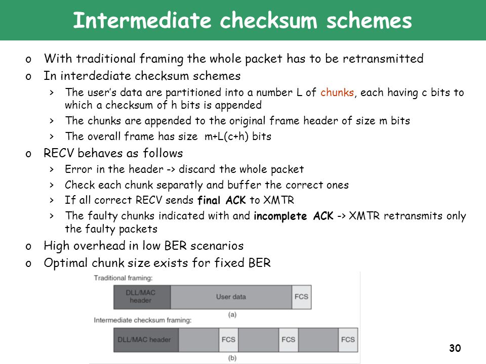 30 Intermediate checksum schemes oWith traditional framing the whole packet has to be retransmitted oIn interdediate checksum schemes >The user's data