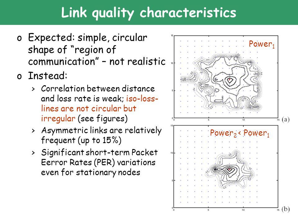 "34 Link quality characteristics oExpected: simple, circular shape of ""region of communication"" – not realistic oInstead: >Correlation between distance"