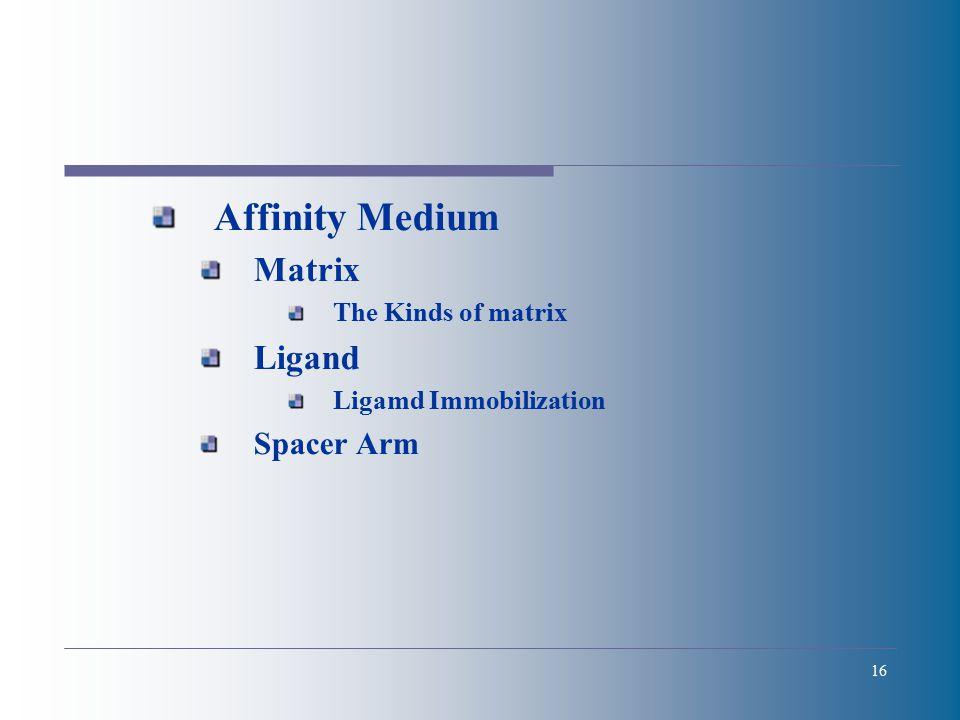 16 Affinity Medium Matrix The Kinds of matrix Ligand Ligamd Immobilization Spacer Arm