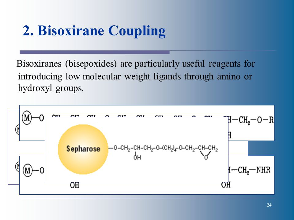 24 2. Bisoxirane Coupling Bisoxiranes (bisepoxides) are particularly useful reagents for introducing low molecular weight ligands through amino or hyd