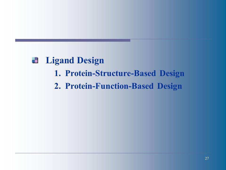 27 Ligand Design 1.Protein-Structure-Based Design 2.Protein-Function-Based Design