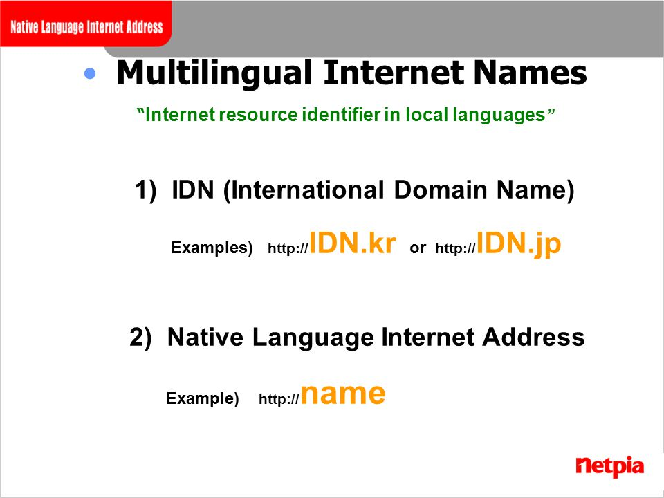Multilingual Internet Names Internet resource identifier in local languages 1) IDN (International Domain Name) Examples) http:// IDN.kr or http:// IDN.jp 2) Native Language Internet Address Example) http:// name
