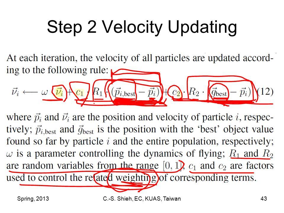 Spring, 2013C.-S. Shieh, EC, KUAS, Taiwan43 Step 2 Velocity Updating