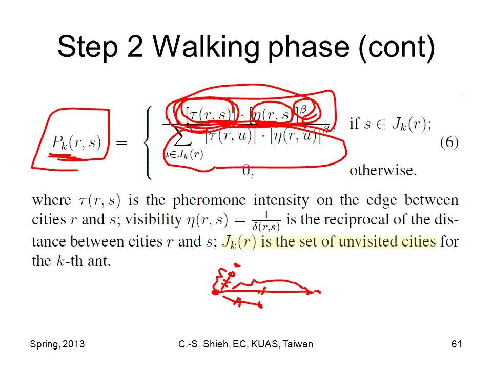 Spring, 2013C.-S. Shieh, EC, KUAS, Taiwan61 Step 2 Walking phase (cont)