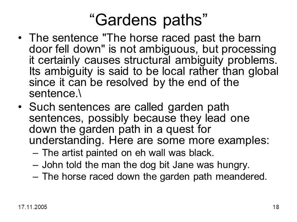 "17.11.200518 ""Gardens paths"" The sentence"