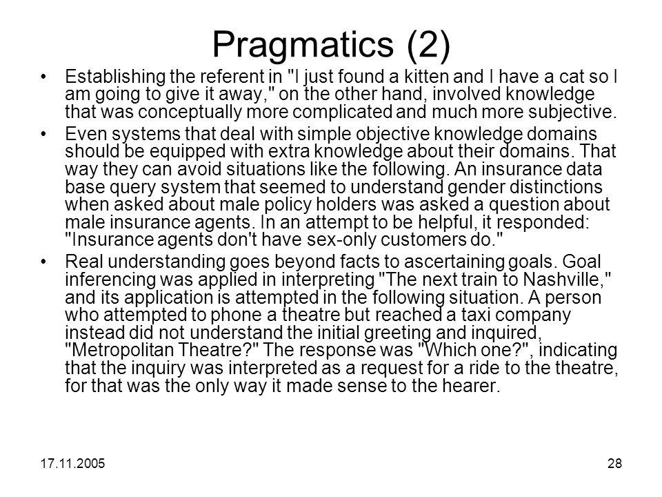 17.11.200528 Pragmatics (2) Establishing the referent in