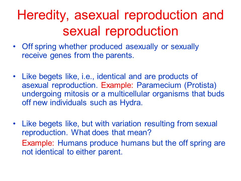 Heredity, asexual reproduction and sexual reproduction Off spring whether produced asexually or sexually receive genes from the parents.