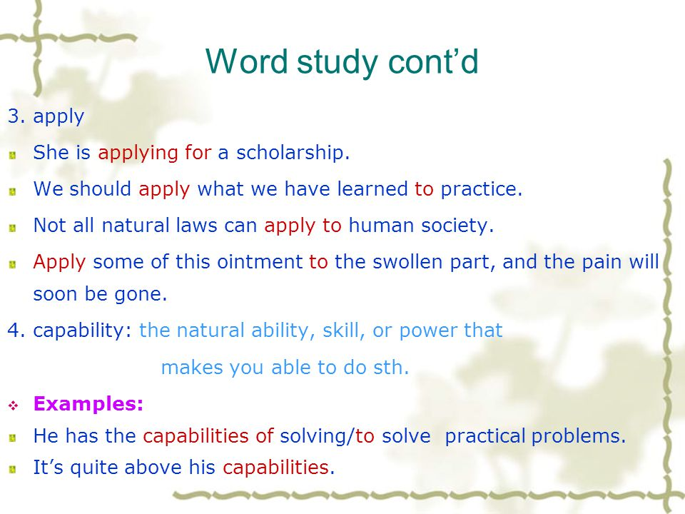 Word study 1. affection: n.