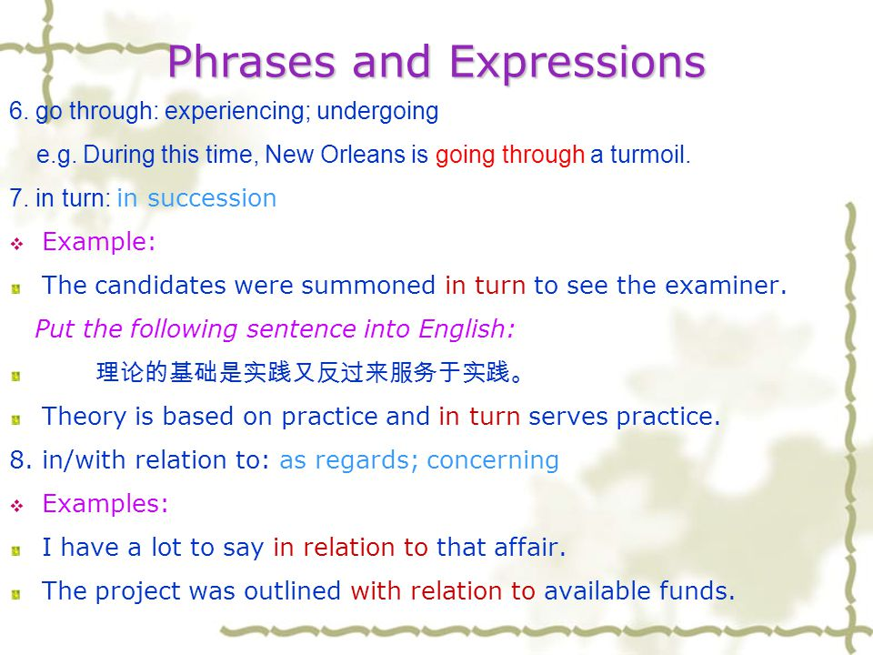 Phrases and Expressions 5. freedom/free from: no longer having sth.