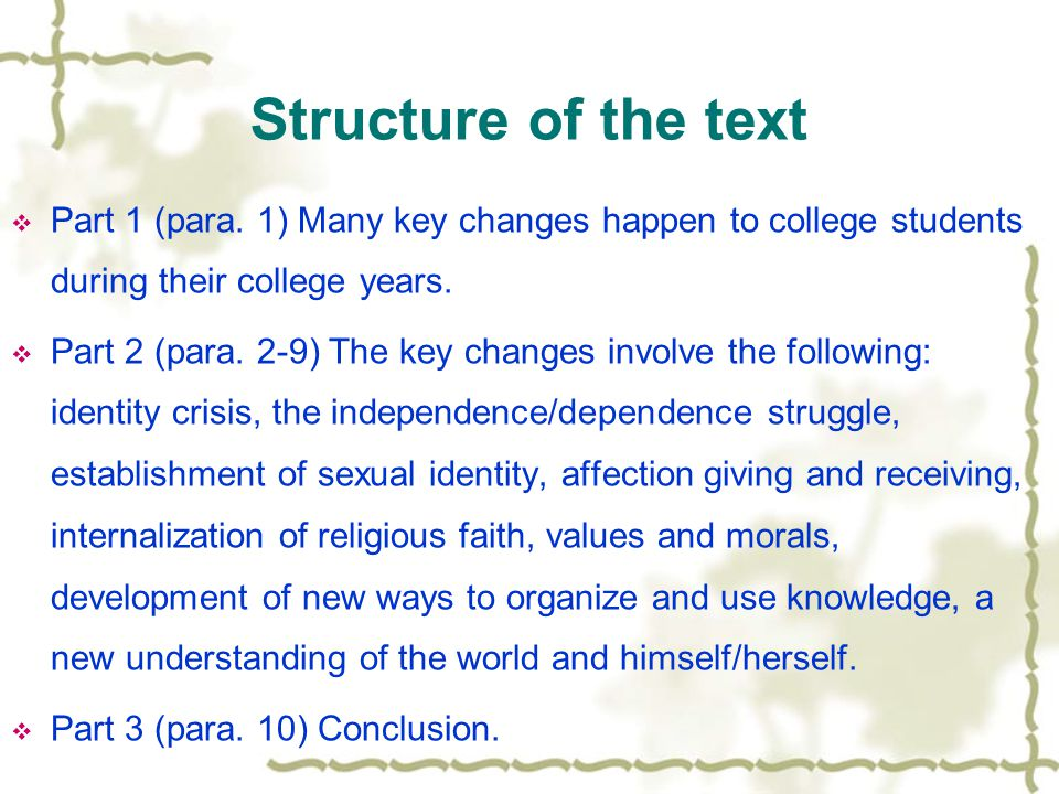 Text Analysis: Theme of the text  College is designed to be a time of changes for students. Threatening the changes may be, they contribute to young