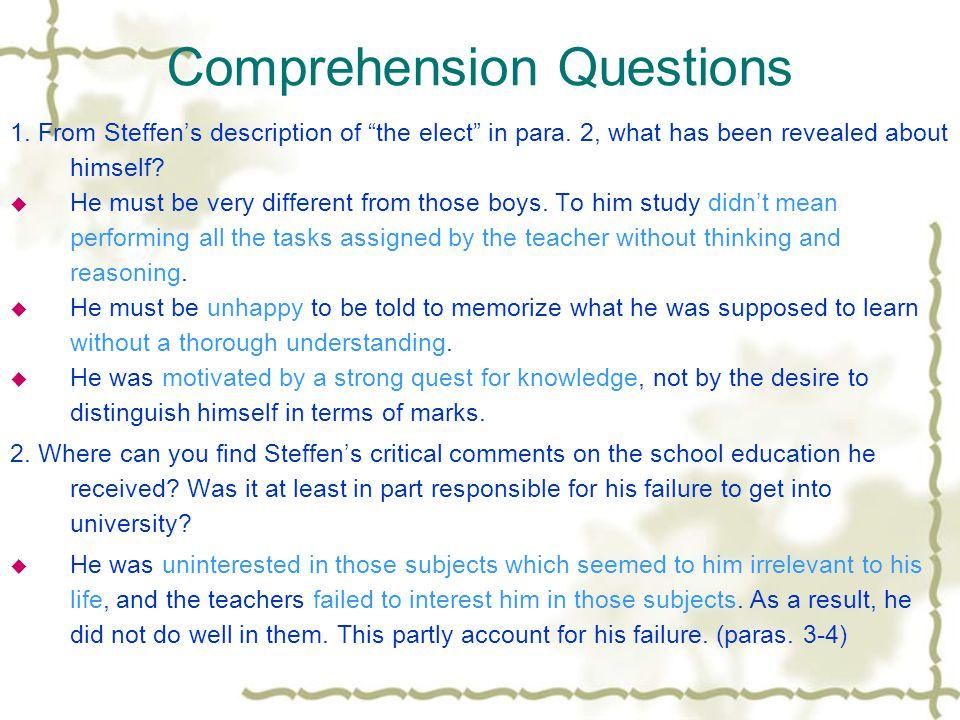 Comprehension – Blank filling 1.