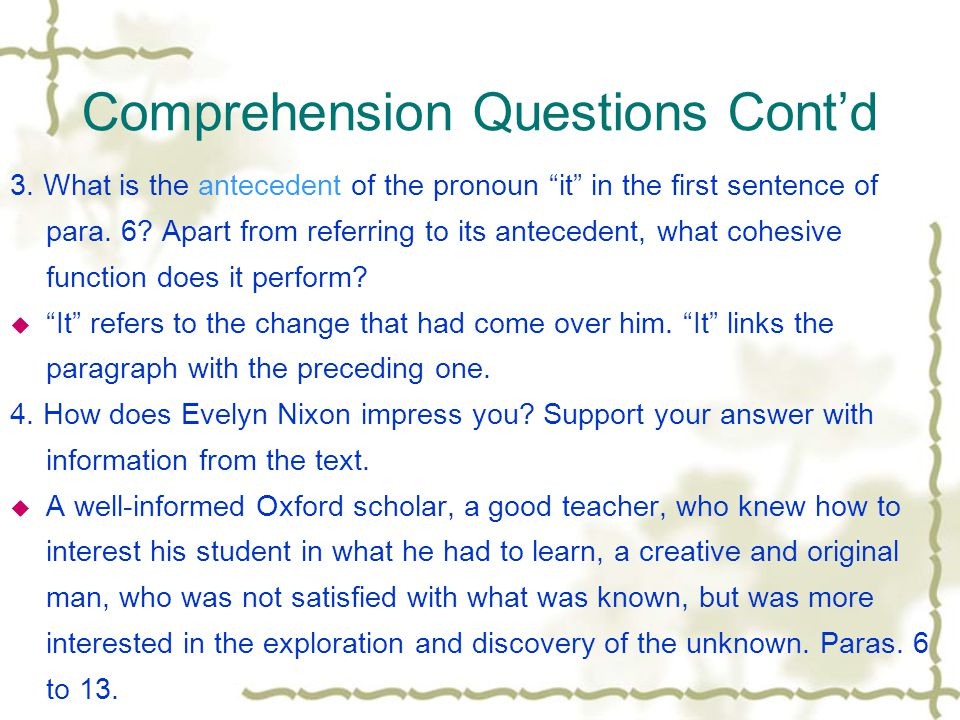 Comprehension Questions 1. From Steffen's description of the elect in para.