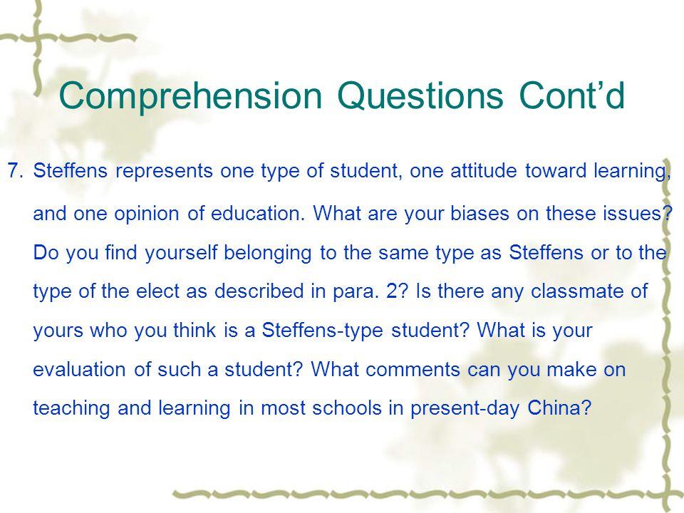 Comprehension Questions Cont'd 5.