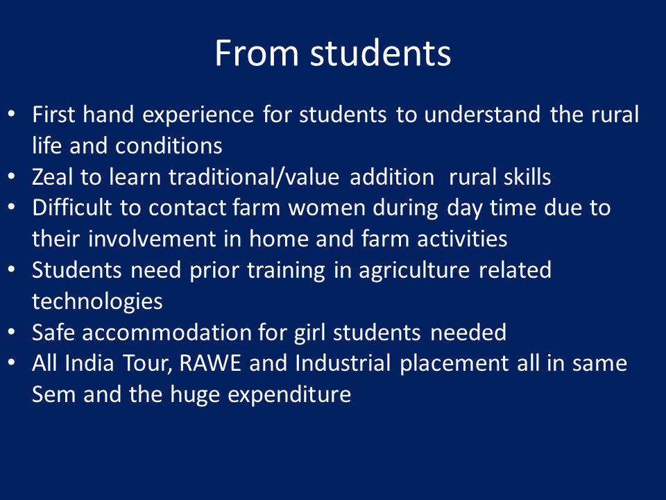 From students First hand experience for students to understand the rural life and conditions Zeal to learn traditional/value addition rural skills Difficult to contact farm women during day time due to their involvement in home and farm activities Students need prior training in agriculture related technologies Safe accommodation for girl students needed All India Tour, RAWE and Industrial placement all in same Sem and the huge expenditure