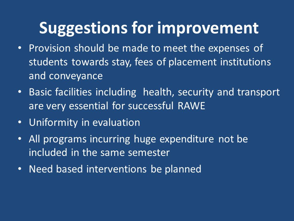 Suggestions for improvement Provision should be made to meet the expenses of students towards stay, fees of placement institutions and conveyance Basic facilities including health, security and transport are very essential for successful RAWE Uniformity in evaluation All programs incurring huge expenditure not be included in the same semester Need based interventions be planned