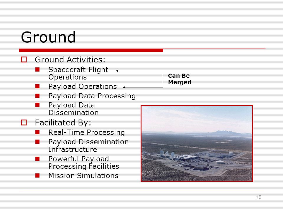 10 Ground  Ground Activities: Spacecraft Flight Operations Payload Operations Payload Data Processing Payload Data Dissemination  Facilitated By: Real-Time Processing Payload Dissemination Infrastructure Powerful Payload Processing Facilities Mission Simulations Can Be Merged